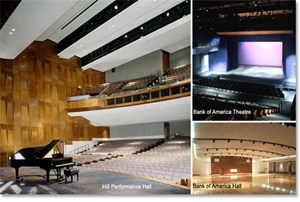 Eisemann Center Venue Montage - Hill Performance Hall; Bank of America Theatre; Bank of America Hall